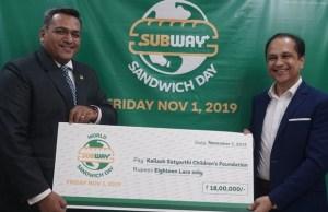 Subway India contributes Rs 18 lakhs to the Kailash Satyarthi Children's Foundation.
