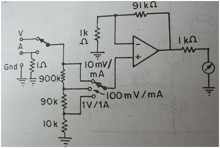 Circuitry for operational amplifier based DC voltmeter