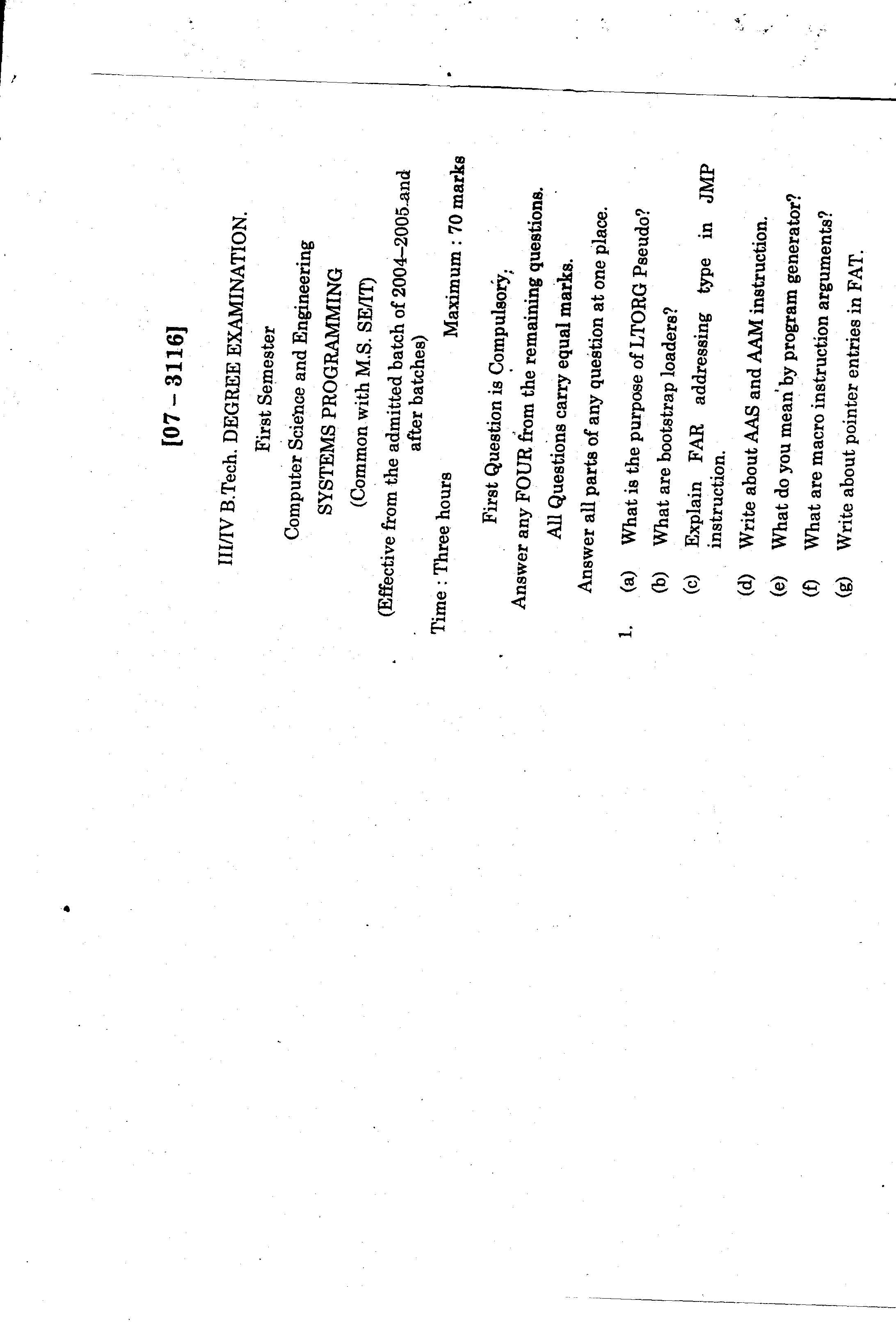 Andhra University Systems Programming model question papers