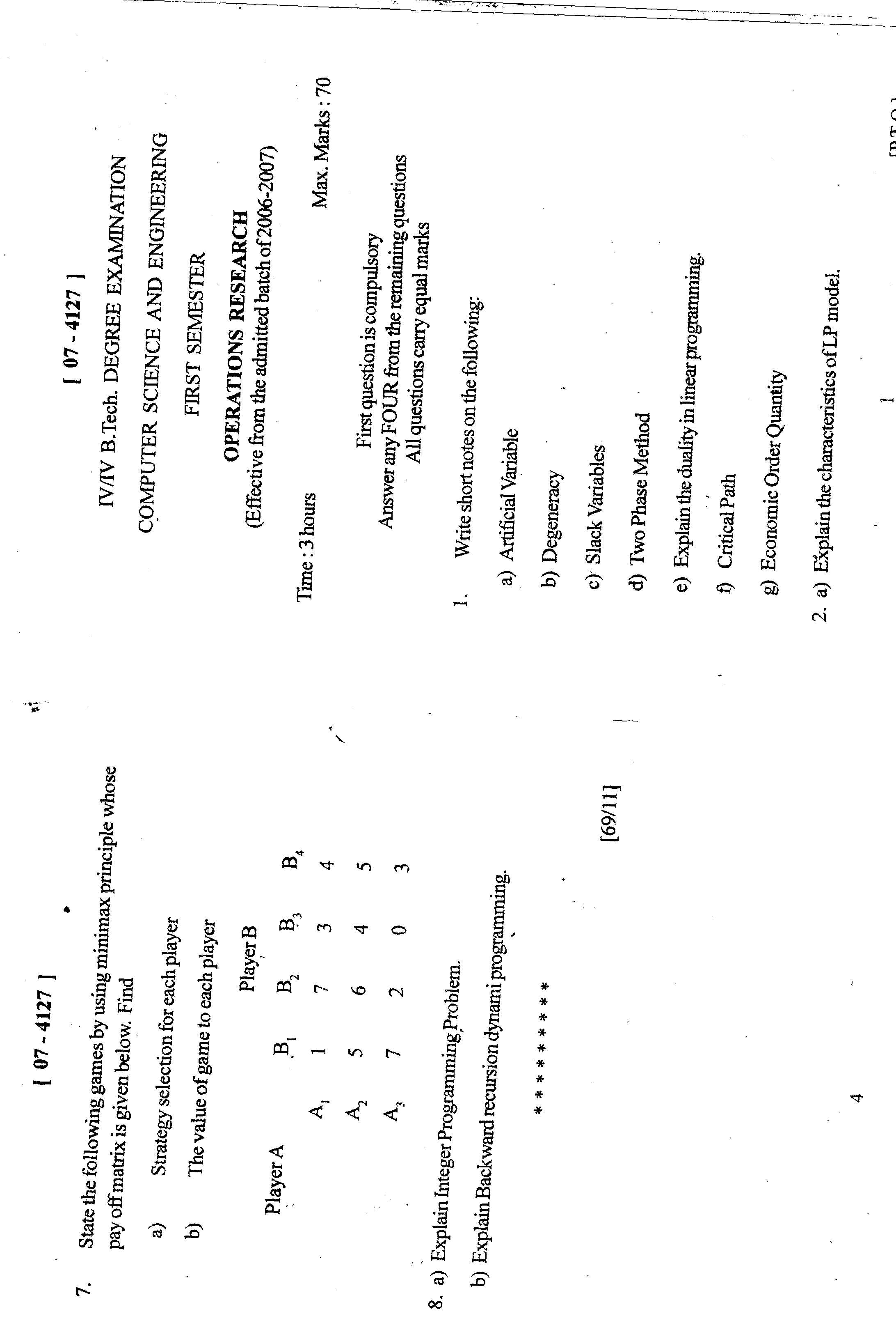Andhra University Operations Research model question papers