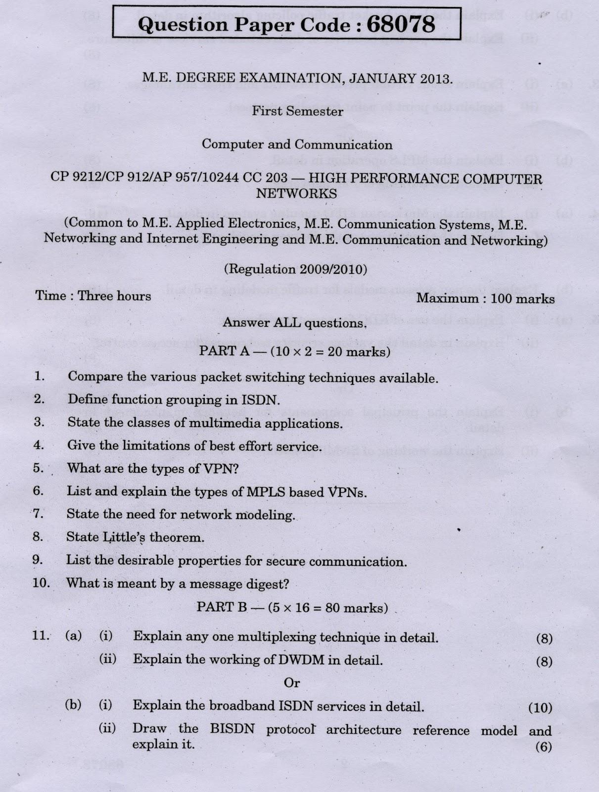 Anna University Chennai High Performance Computer Networks Anna University Question Paper