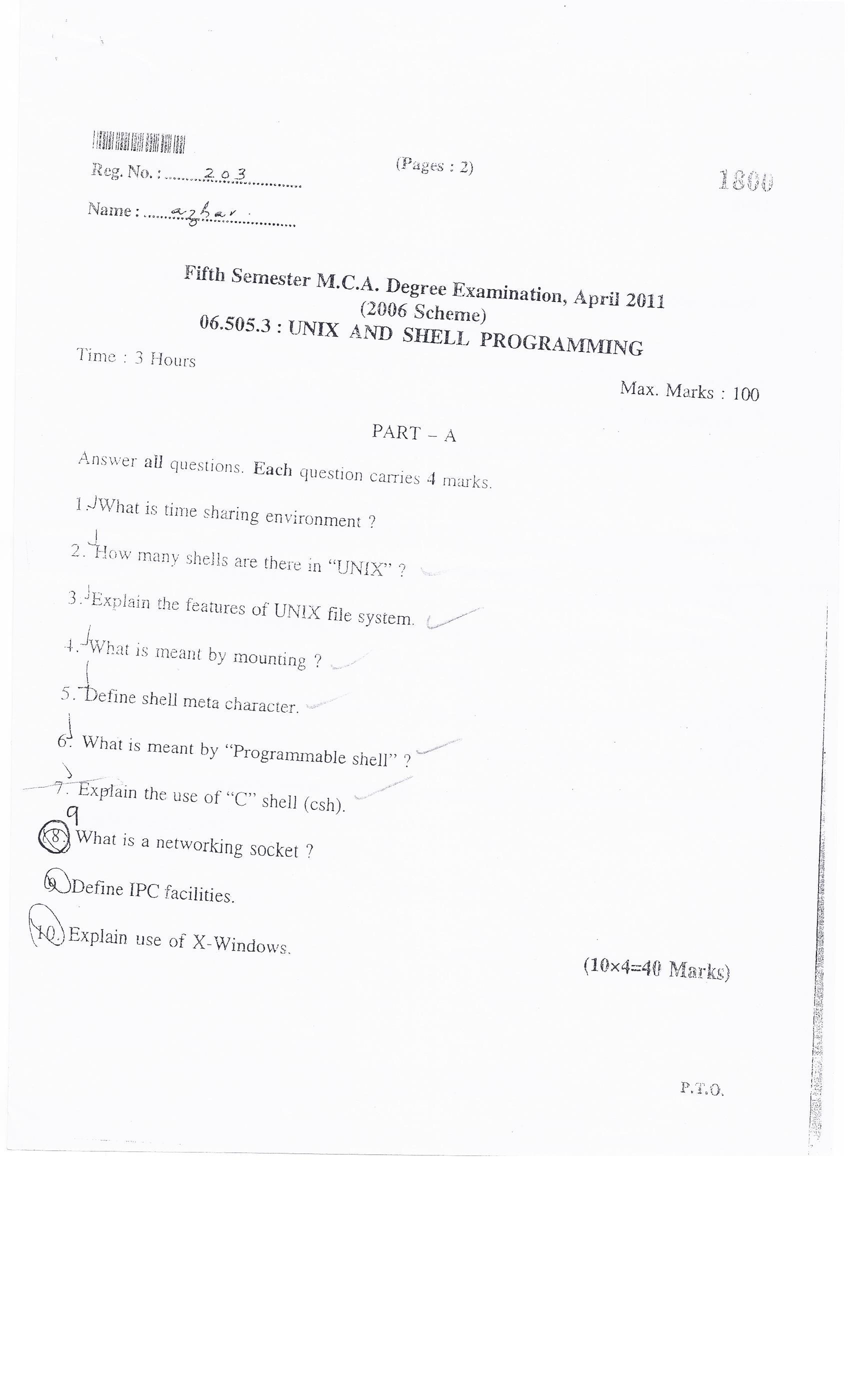University of Kerala Computer Fifth Semester MCA Degree