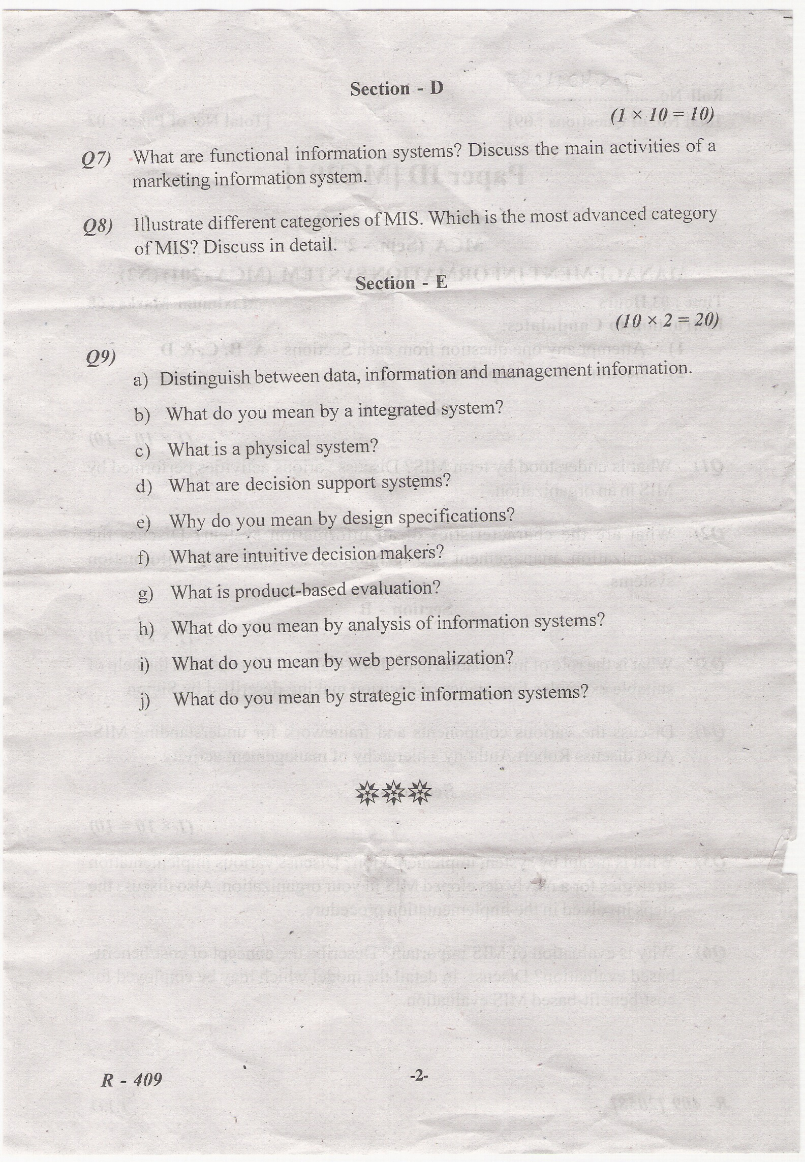 Punjab Technical University Computer MIS model question papers