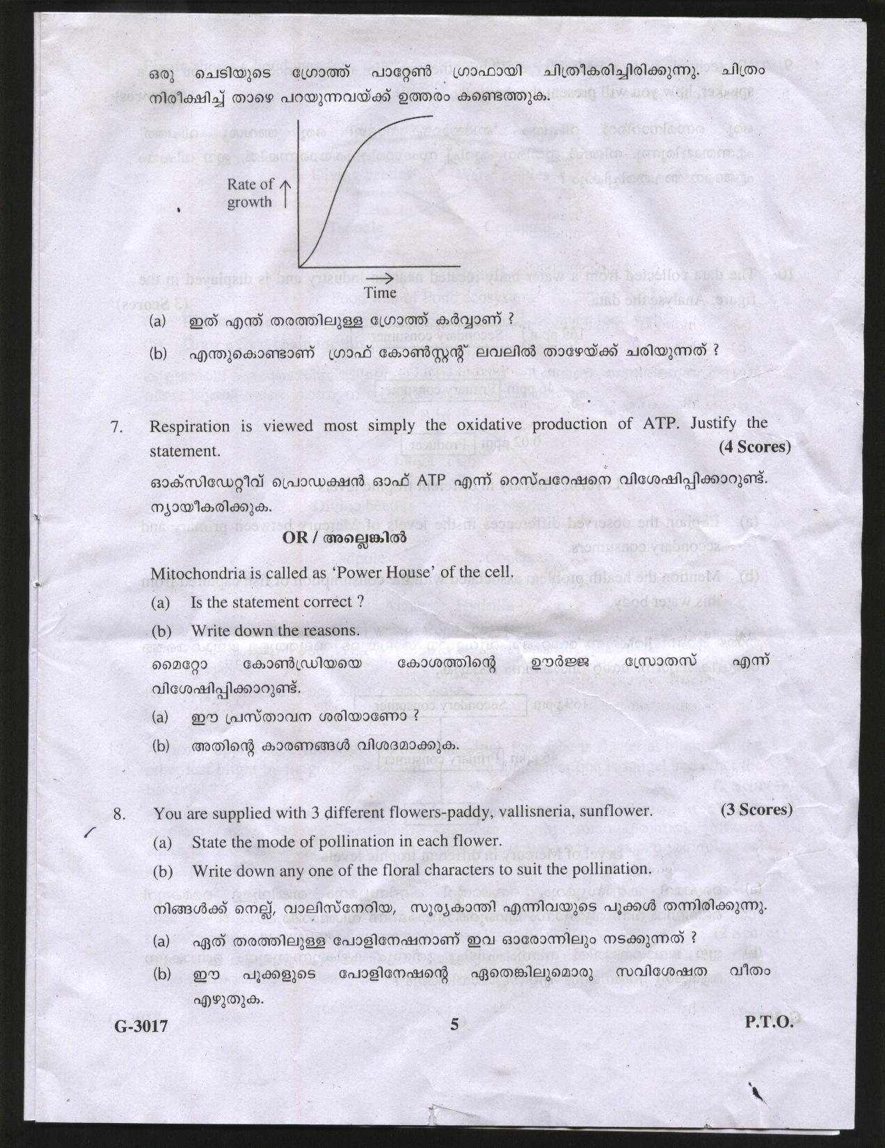 Kerala State biology model question papers