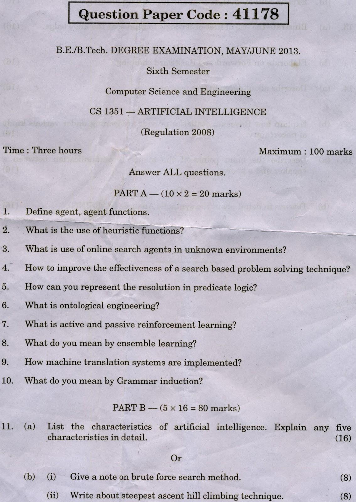 Anna University Chennai Cs Artificial Intelligence May
