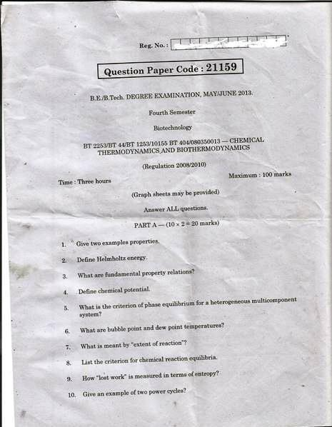 Anna University Chennai B.Tech./B.E. Degree Exam, 4th