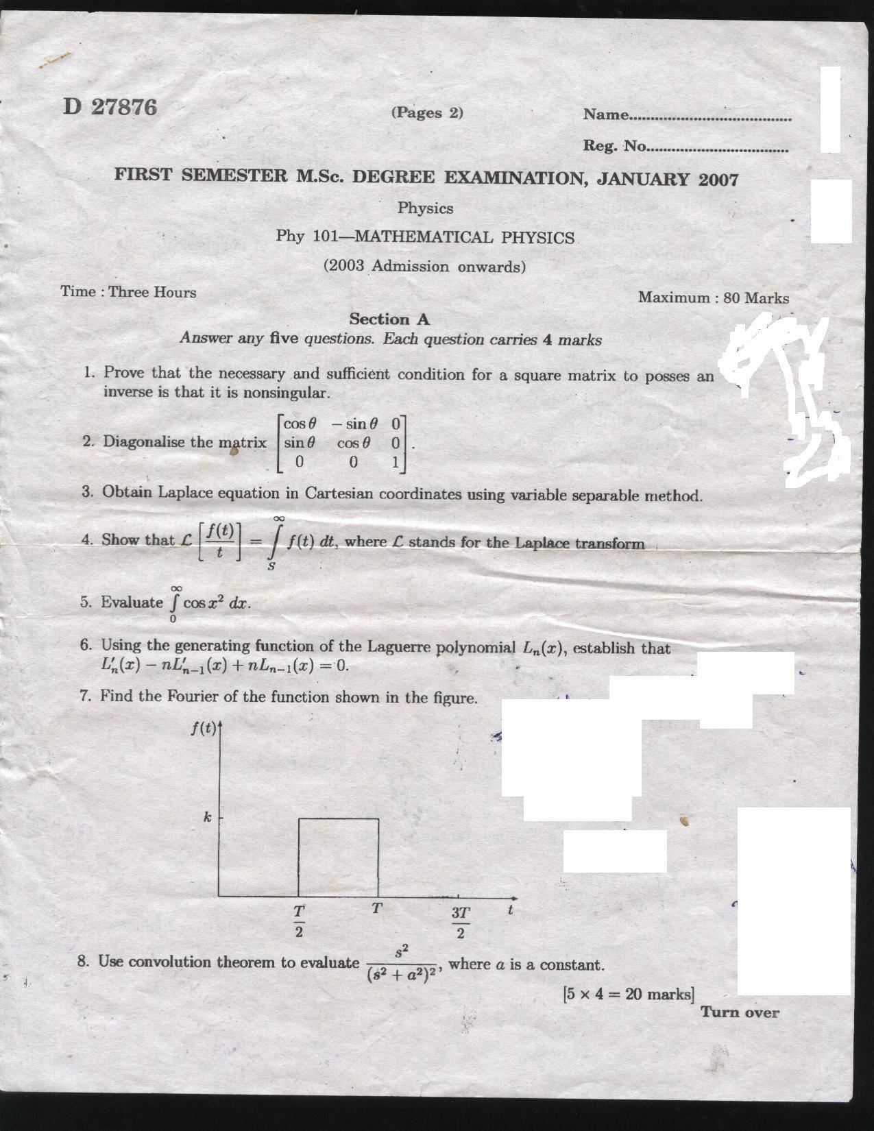 University of Calicut Phy 101- MATHEMATICAL PHYSICS