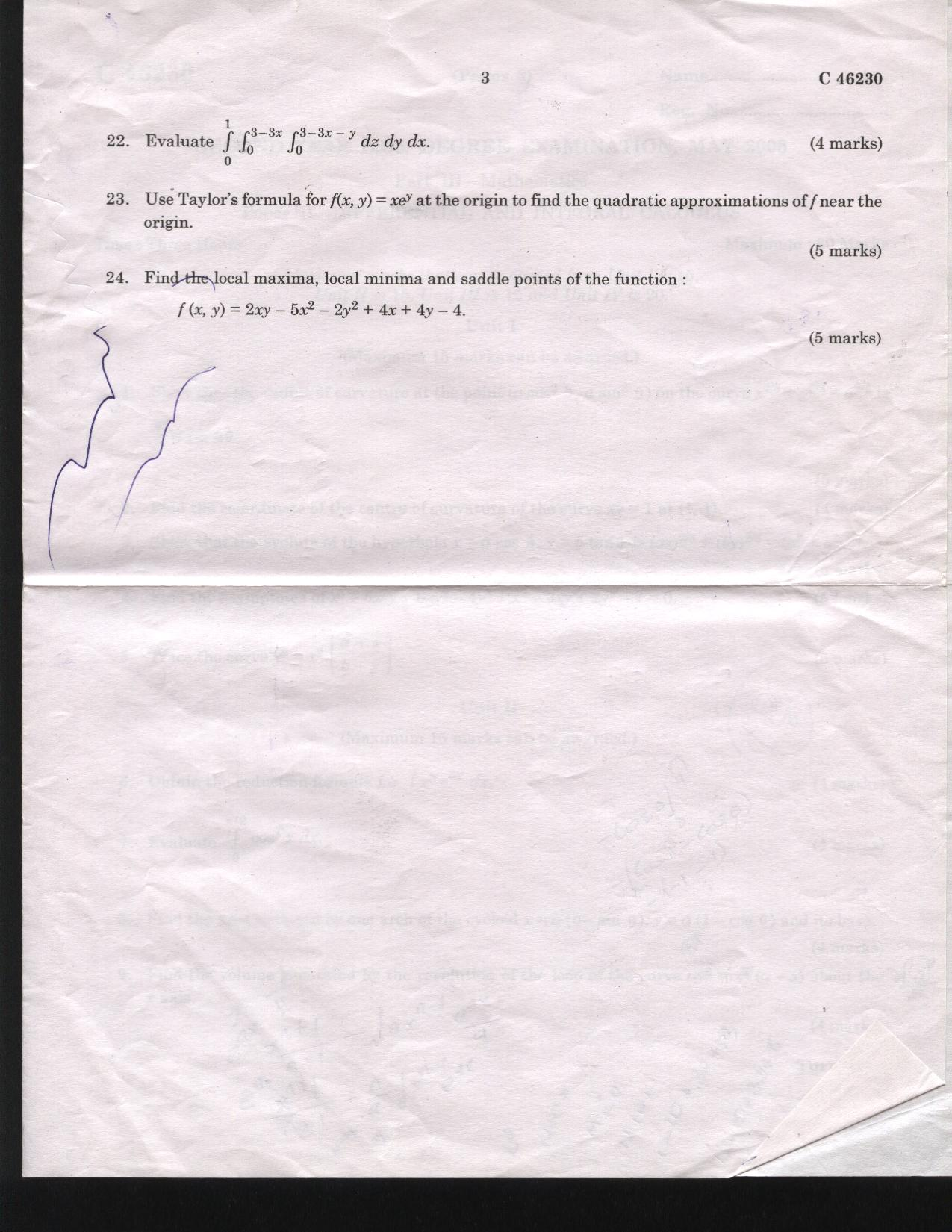 University of Calicut PAPER II-DIFFERENTIAL AND INTEGRAL