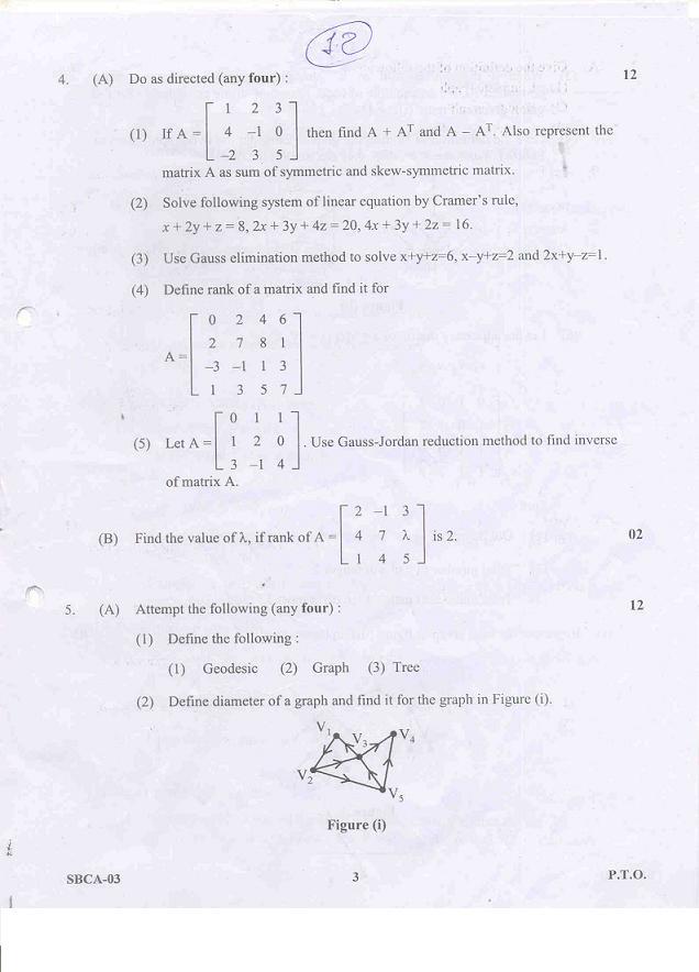 Gujarat University BCA 2nd year Mathematical Foundation of