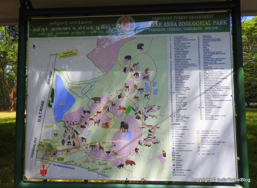 A Map Showing The Details About Arignar Anna Zoological Park