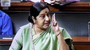 New Delhi: External Affairs Minister Sushma Swaraj speaks in the Lok Sabha in New Delhi on Wednesday. PTI Photo / TV GRAB  (PTI4_5_2017_000040a)