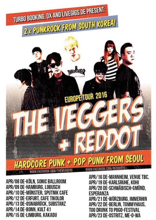 The Veggers + REDDOT Europe Tour 2016 poster