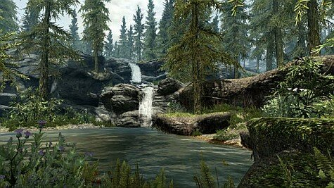 skyrim screenshot - waterfall