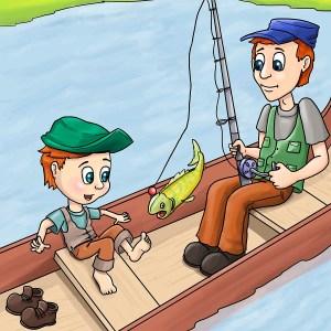 Dad teach fishing method to Son Image