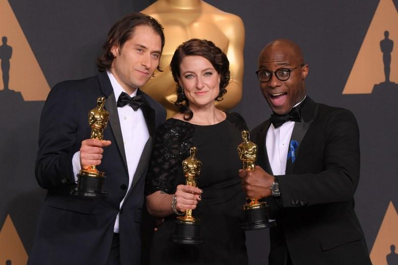 Jeremy Kleiner, Adele Romanski and Barry Jenkins, oscars Academy Awards