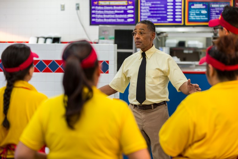 """Giancarlo Esposito as Gustavo """"Gus"""" Fring; group†- Better Call Saul _ Season 3, Episode 4 - Photo Credit: Michele K. Short/AMC/Sony Pictures Television"""