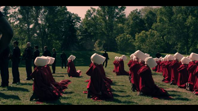 "THE HANDMAID'S TALE -- ""Offred"" - Episode 101 - Offred, one the few fertile women known as Handmaids in the oppressive Republic of Gilead, struggles to survive as a reproductive surrogate for a powerful Commander and his resentful wife. (Photo by: Take Five/Hulu)"