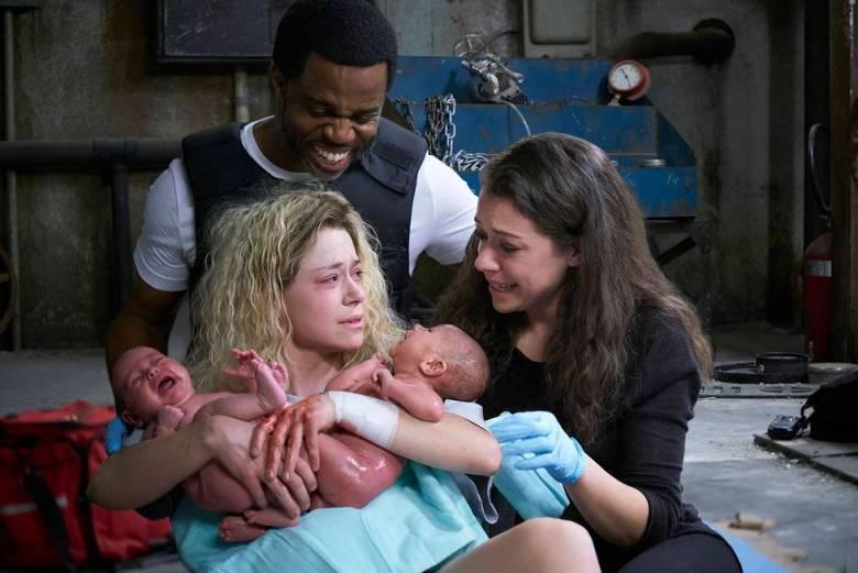 """Kevin Hanchard and two Tatiana Maslanys, """"Orphan Black"""""""