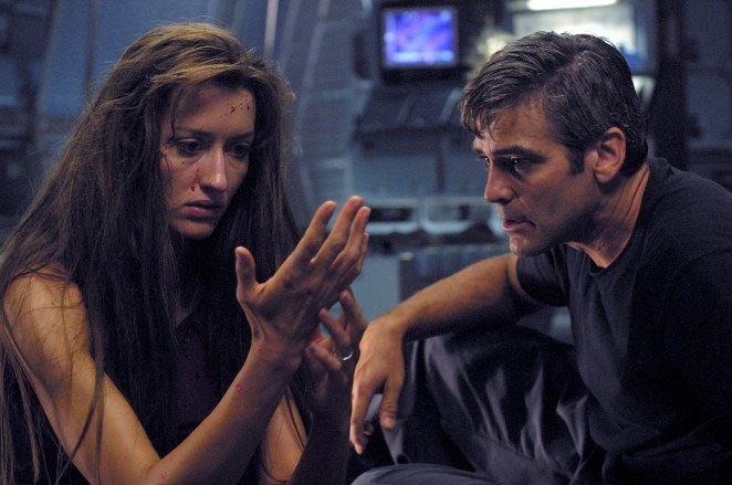 Natascha McElhone and George Clooney in Solaris
