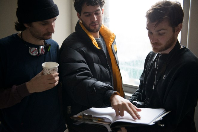 "Josh and Benny Safdie with Robert Pattinson on the set of ""Good Tim"""