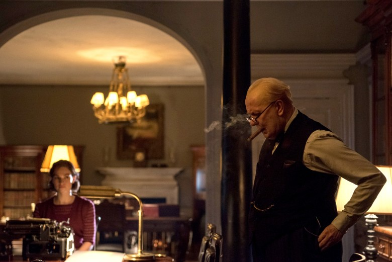 4106_D023_00001_R_CROPLily James stars as Elizabeth Layton and Gary Oldman as Winston Churchill in director Joe Wright's DARKEST HOUR, a Focus Features release.Credit: Jack English / Focus Features