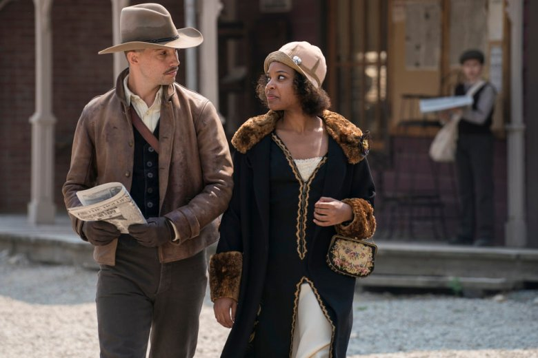 """DAMNATION -- """"Which Side Are You On"""" Episode 102 -- Pictured: (l-r) Logan Marshall-Green as Creeley Turner, Chasten Harmon as Bessie Louvin -- (Photo by: Chris Large/USA Network)"""
