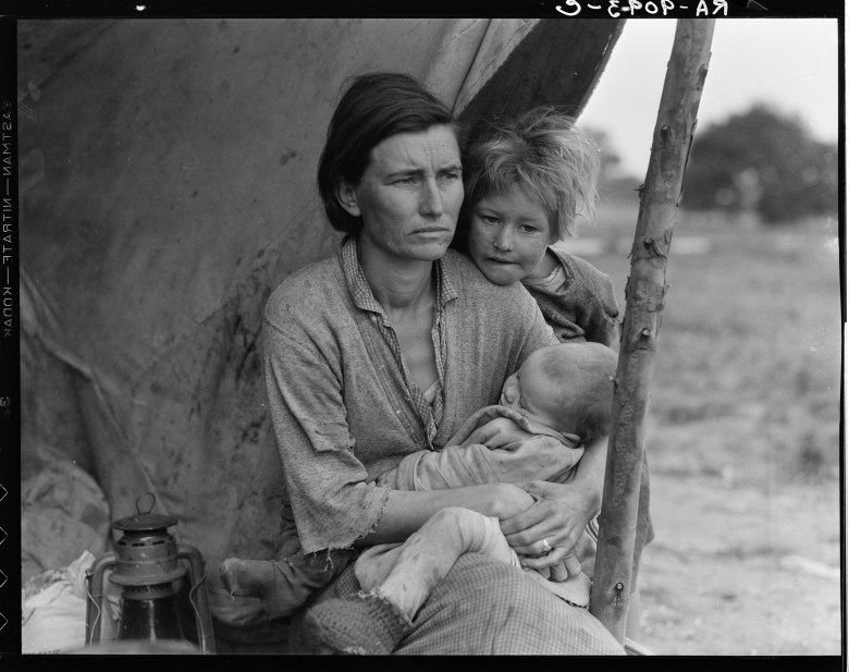 Portrait of Florence Johnson and two of her seven children, from the Migrant Mother series, photographed in Nipomo, California, February or March 1936 (Dorothea Lange)Art (Social History) - various Artist: LANGE, Dorothea (1895-1965, American)