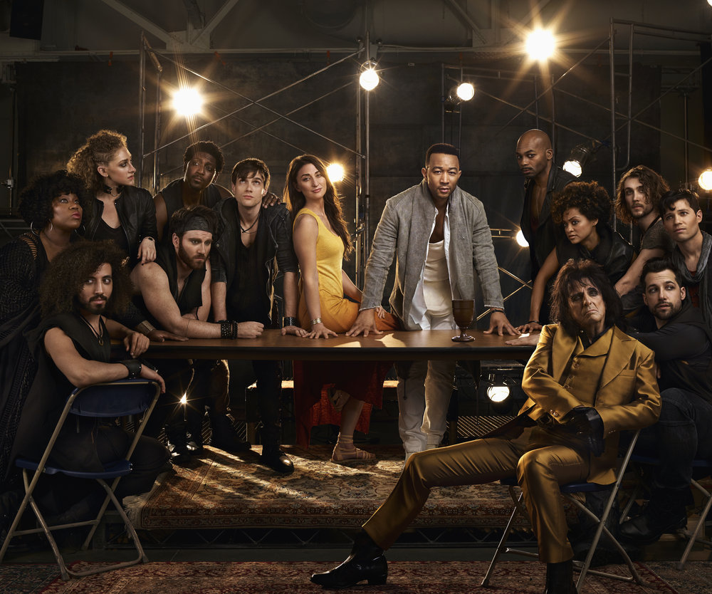 Sara Bareilles as Mary Magdalene, John Legend as Jesus Christ, Brandon Victor Dixon as Judas Iscariot, Jason Tam as Peter, front: Alice Cooper as King Herod