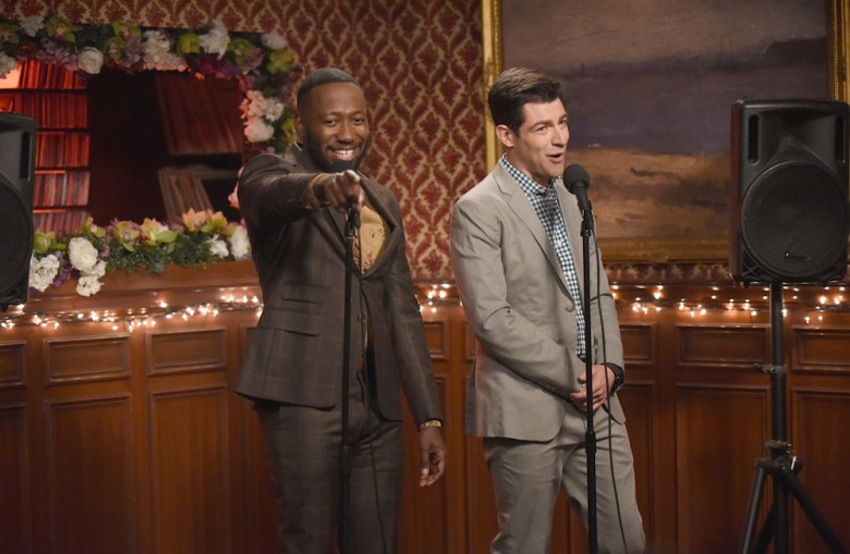 "NEW GIRL: L-R: Lamorne Morris and Max Greenfield in ""The Curse of the Pirate Bride,"" the first part of the special one-hour series finale episode of NEW GIRL airing Tuesday, May 15 (9:00-9:30 PM ET/PT) on FOX. ©2018 Fox Broadcasting Co. Cr: Ray Mickshaw/FOX"