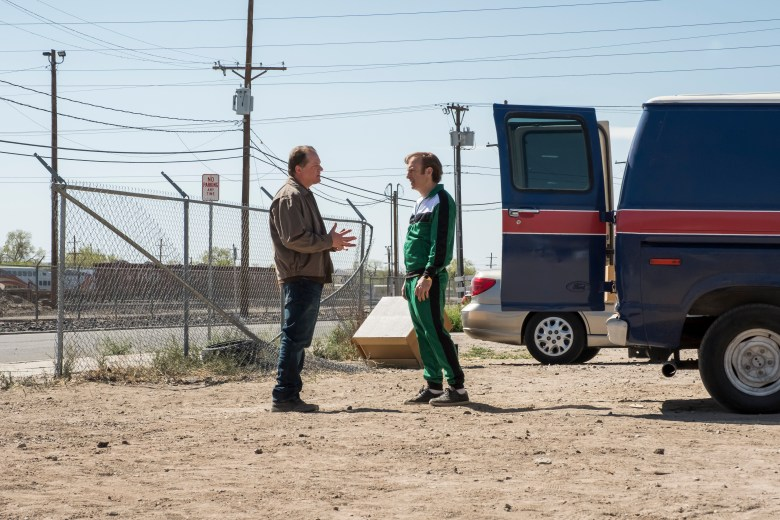 Colby French as Officer Platt, Bob Odenkirk as Jimmy McGill- Better Call Saul _ Season 4, Episode 7 - Photo Credit: Nicole Wilder/AMC/Sony Pictures Television