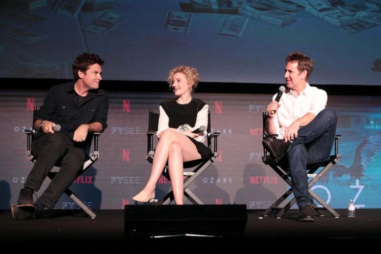 Jason Bateman, Julia Garner, Chris Mundy, Executive Producer,Netflix FYSEE Ozark Panel, Los Angeles, CA, USA - 9 June 2018