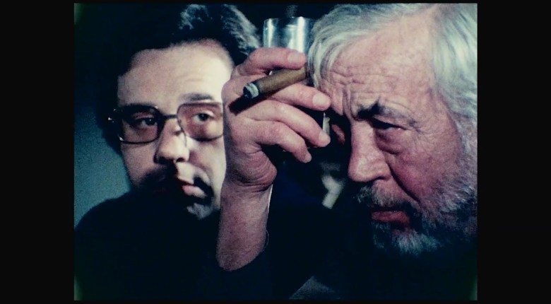 """Peter Bogdanovich, John Huston in Orson Wells' """"The Other Side Of The Wind"""""""