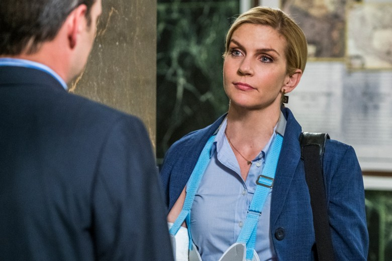 Peter Diseth as DDA Bill Oakley, Rhea Seehorn as Kim Wexler - Better Call Saul _ Season 4, Episode 5 - Photo Credit: Nicole Wilder/AMC/Sony Pictures Television