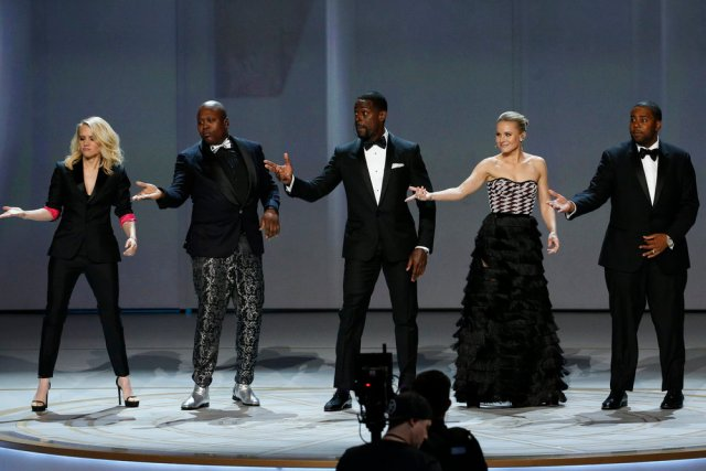 70th ANNUAL PRIMETIME EMMY AWARDS -- Pictured: (l-r) Kate McKinnon, Titus Burgess, Sterling K. Brown, Kristen Bell, Kenan Thompson during the 70th Annual Primetime Emmy Awards held at the Microsoft Theater on September 17th, 2018 -- (Photo by: Paul Drinkwater/NBC)