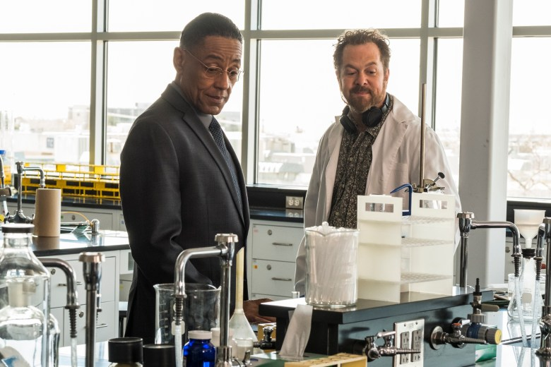 "Giancarlo Esposito as Gustavo ""Gus"" Fring, David Costabile as Gale Boetticher - Better Call Saul _ Season 4, Episode 3 - Photo Credit: Nicole Wilder/AMC/Sony Pictures Television"