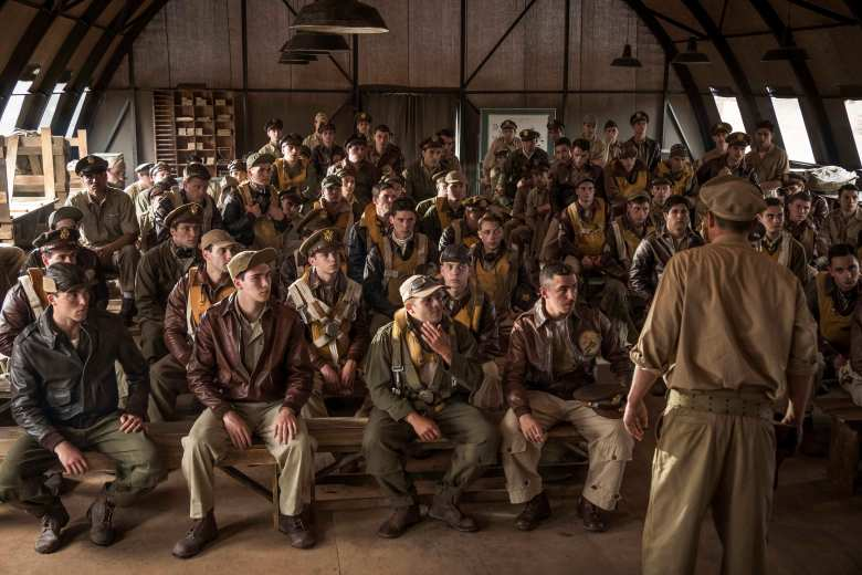 Catch 22 -- Episode 1 - Young American flyers arrive in war and discover that the bureaucracy is more deadly than the enemy. Kid Sampson (Gerran Howell) and Colonel Cathcart (Kyle Chandler), shown. (Photo by: Philippe Antonello/Hulu)