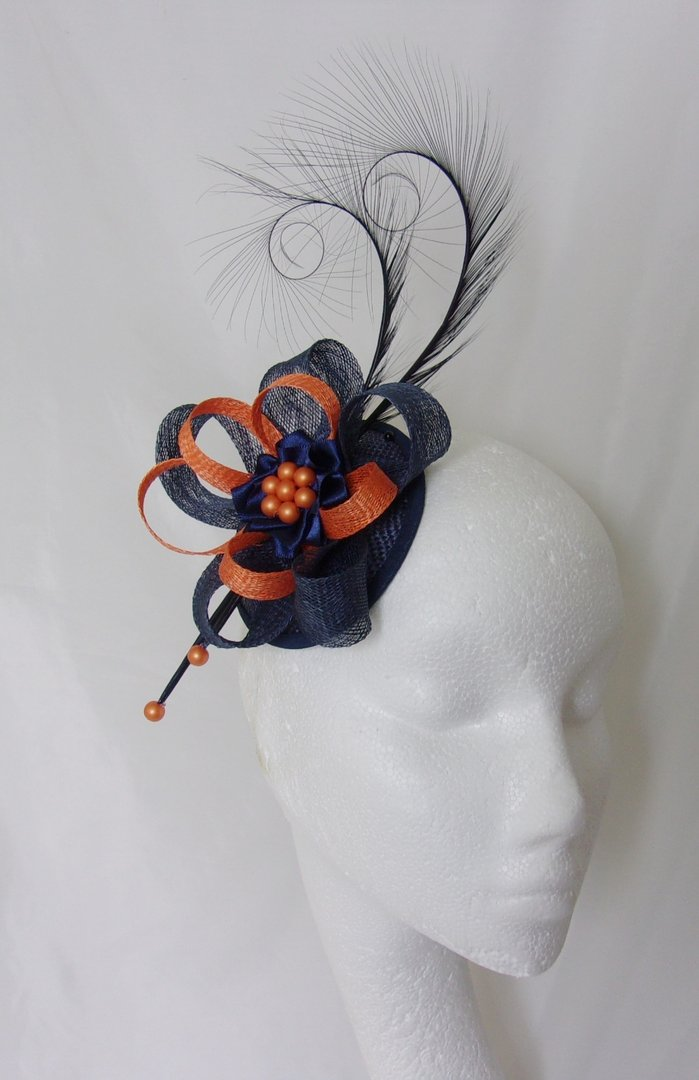 Navy Blue  Orange Pheasant Curl Feather and Sinamay