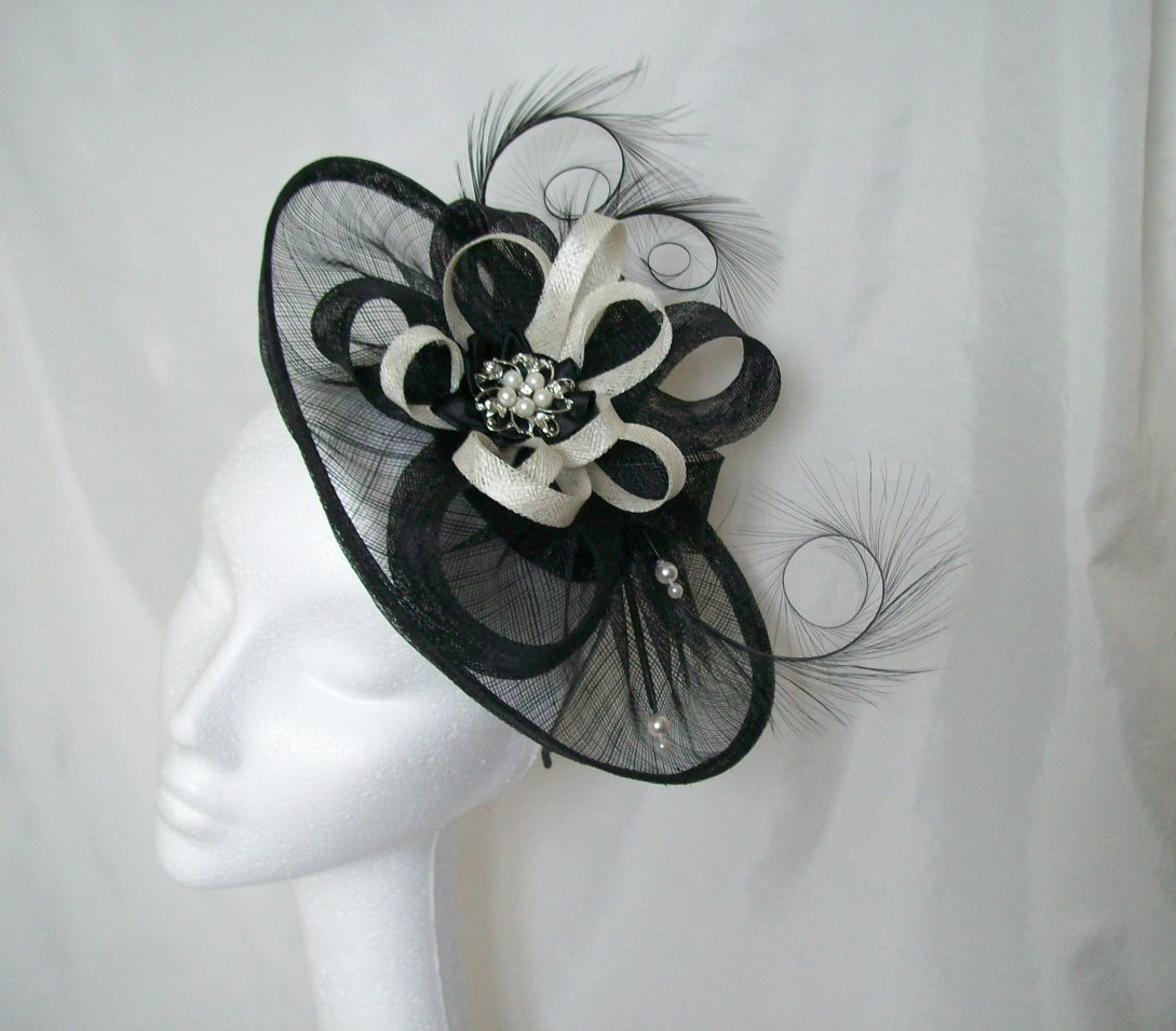 Black Sinamay Saucer Curl Feather and Ivory Loop  Pearl Cecily Fascinator Hat  Custom Made to