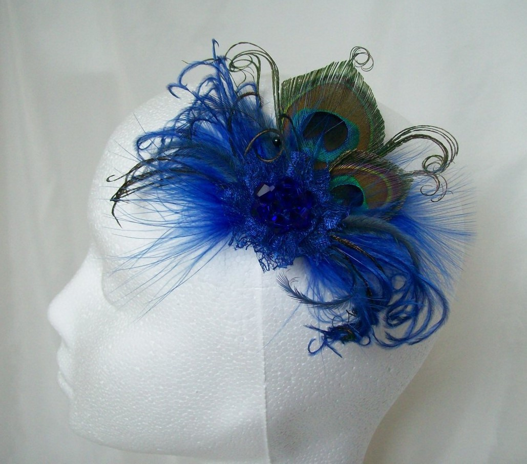 Small And Dainty Royal Cobalt Blue Peacock Feather