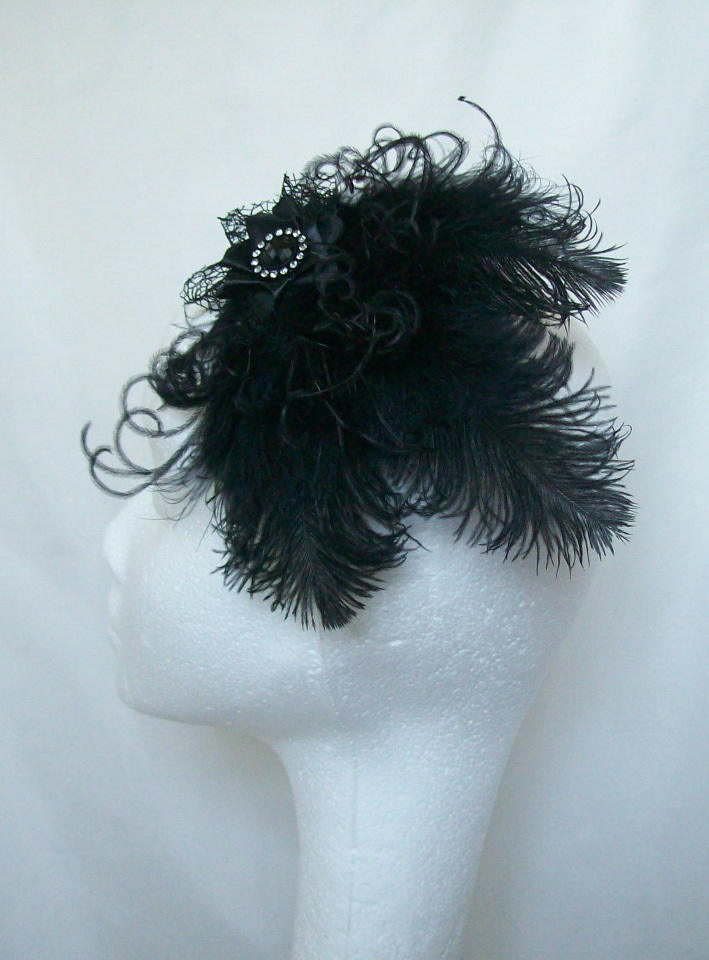 Black Ostrich Feather And Crystal Gothic Victorian Vintage