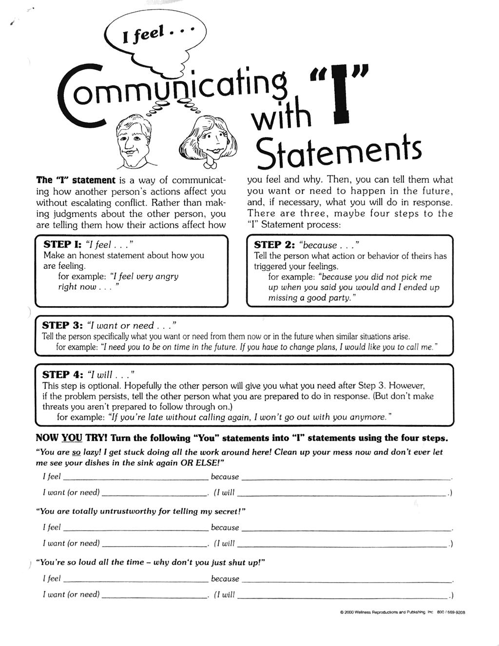 I Feel Communication Worksheet