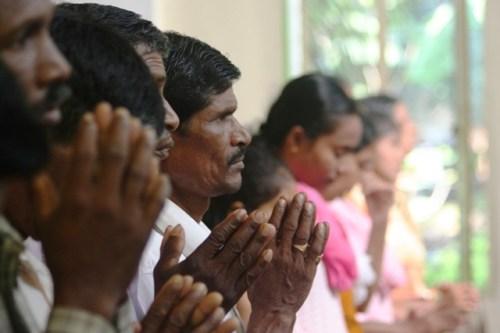 Profughi del Khandamal nella chiesa di Bhubaneswar