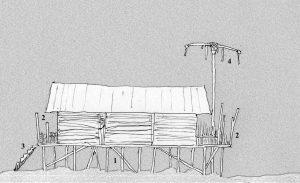 Profilo schematico di una tipica casa apatani 1 palafitta 2 verande alle aperture anteriore e posteriore 3 scala di accesso 4 palo totemico