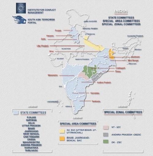 Mappa delle aree interessate dalla presenza dei ribelli, fonte