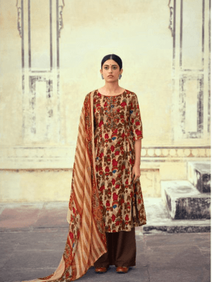 Belliza Rayon Printed With Embroidery Suit 519-001 Belliza Mystic