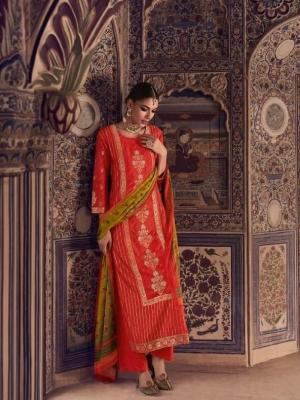 Omtex Tirth Woven Azza Silk With Hand Work Suit D.No.56 Omtex Tirth