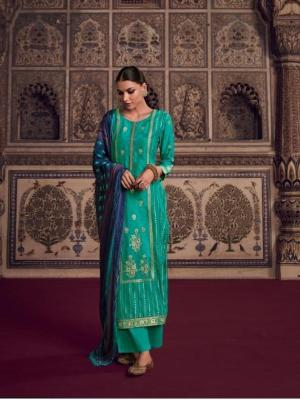 Omtex Tirth Woven Azza Silk With Hand Work Suit D.No.57 Omtex Tirth