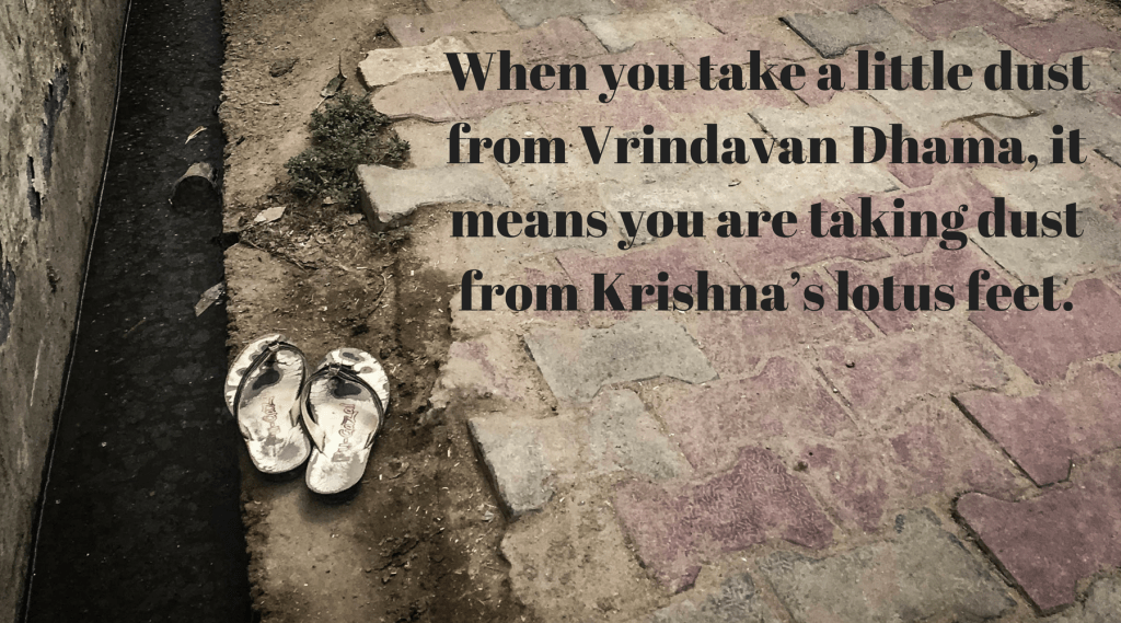 when you take a little dust from Vrindavan Dhama, it means you are taking dust from Krishna's lotus feet
