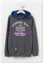 DeFacto genç erkek kapşonlu gri sweatshirt-35 TL
