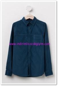 DeFacto genç erkek petrol mavisi kadife gömlek-36 TL